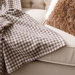 Pied De Poule Fleece Tv Blanket 120x170 Cm Brown