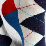 Plaid Wreath Cotton Socks White-Navy