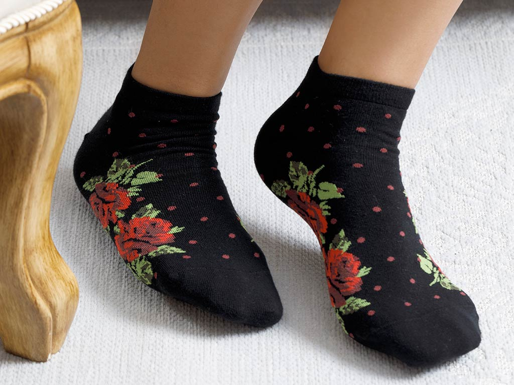 Flower Dots Cotton Socks Black