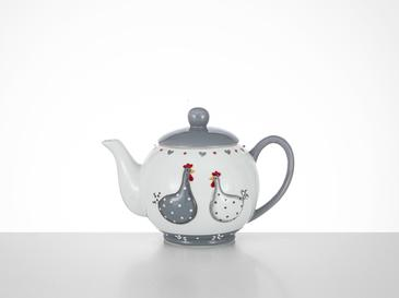 East Ceramic Teapot 20,5x14x14,5 Cm White-Gray