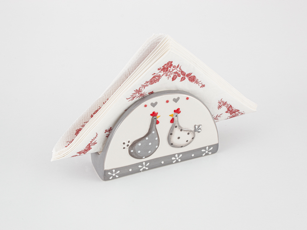 East Ceramic Napkin Holder 14x4,5x9 Cm White-Gray