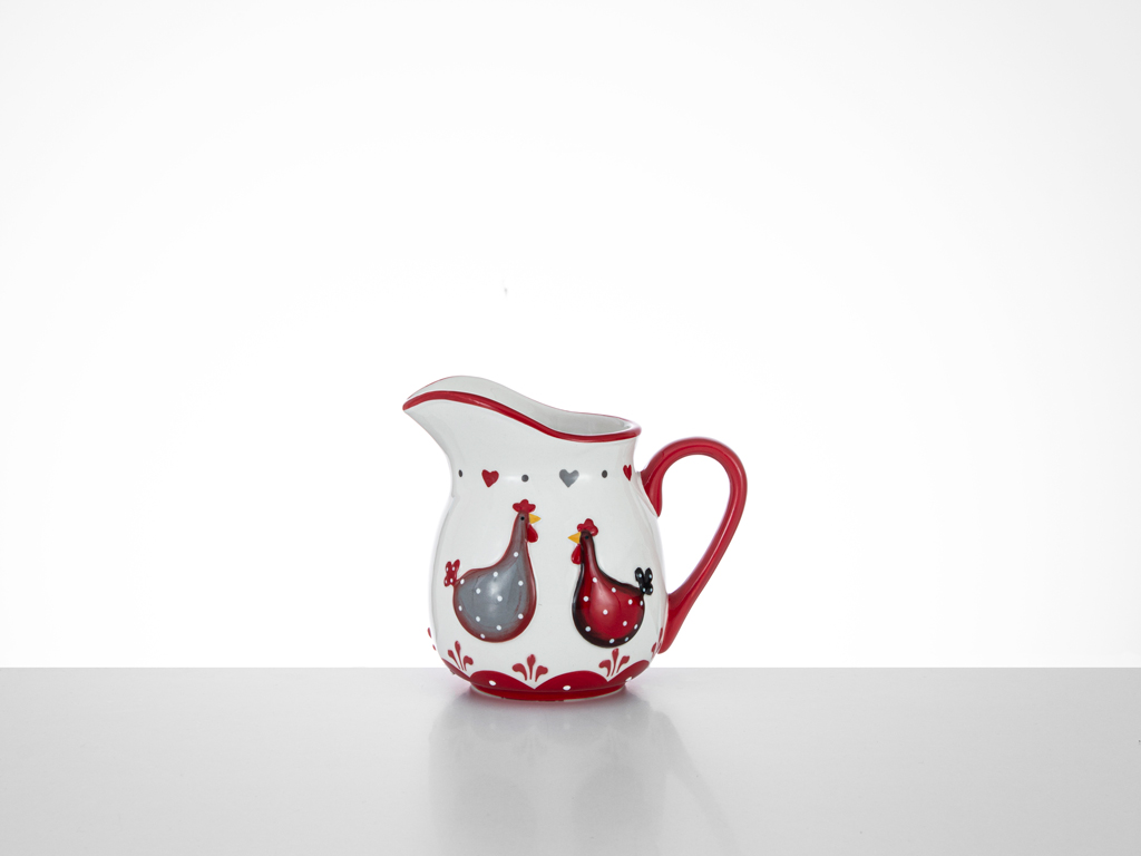 Chick Heart Ceramic Cream Pitcher 13x9,5x11,5 Cm Red-White
