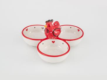 Chick Heart Ceramic Appetizers 16,5x16,5x9,5 Cm Red-White