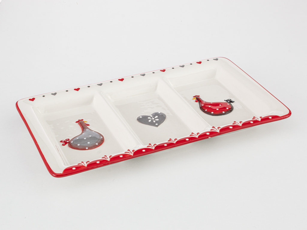 Chick Heart Ceramic Appetizers 30x17,5x3 Cm Red-White
