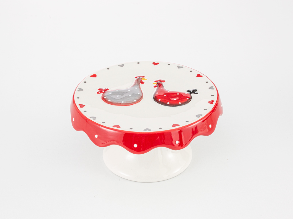 Chick Heart Ceramic Cake Stand 16,5x16,5x8 Cm Red-White