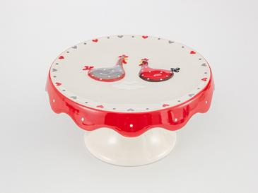 Chick Heart Ceramic Cake Stand 20x20x9,5 Red-White