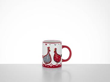 Chick Heart Ceramic Cup 11,5x8x9,5 Cm Red-White