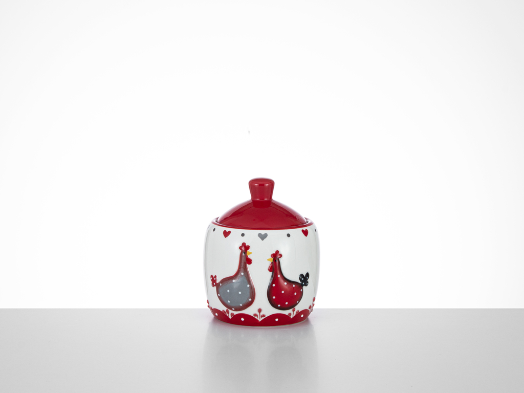 Chick Heart Ceramic Sugar Bowl 9,5x9,5x11 Cm Red-White