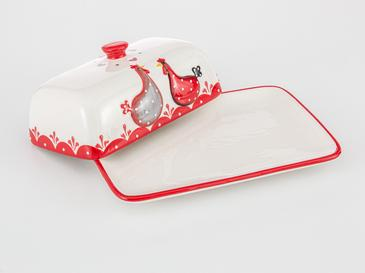 Chick Heart Ceramic Butter Dish 18,5x12,3x7,5 Cm Red-White