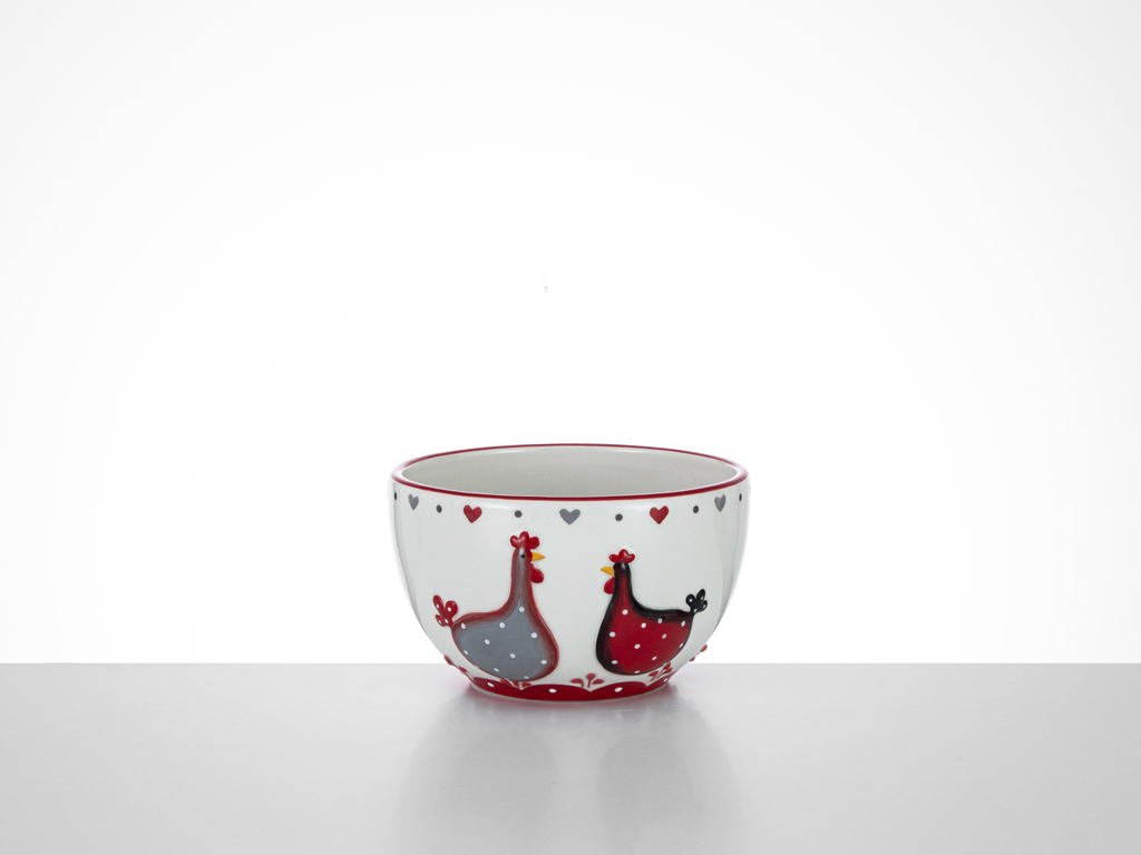 Chick Heart Ceramic Bowl 14x14x8,5 Cm Red-White