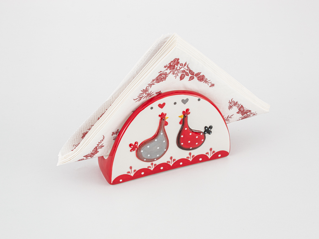 Chick Heart Ceramic Napkin Holder 14x4,5x9 Cm Red-White