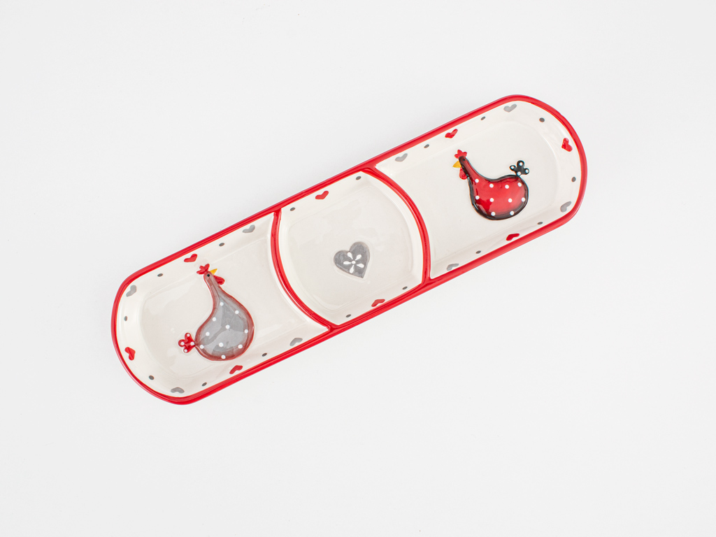 Chick Heart Ceramic Oval Plate 28,5x8x2,5 Cm Red-White