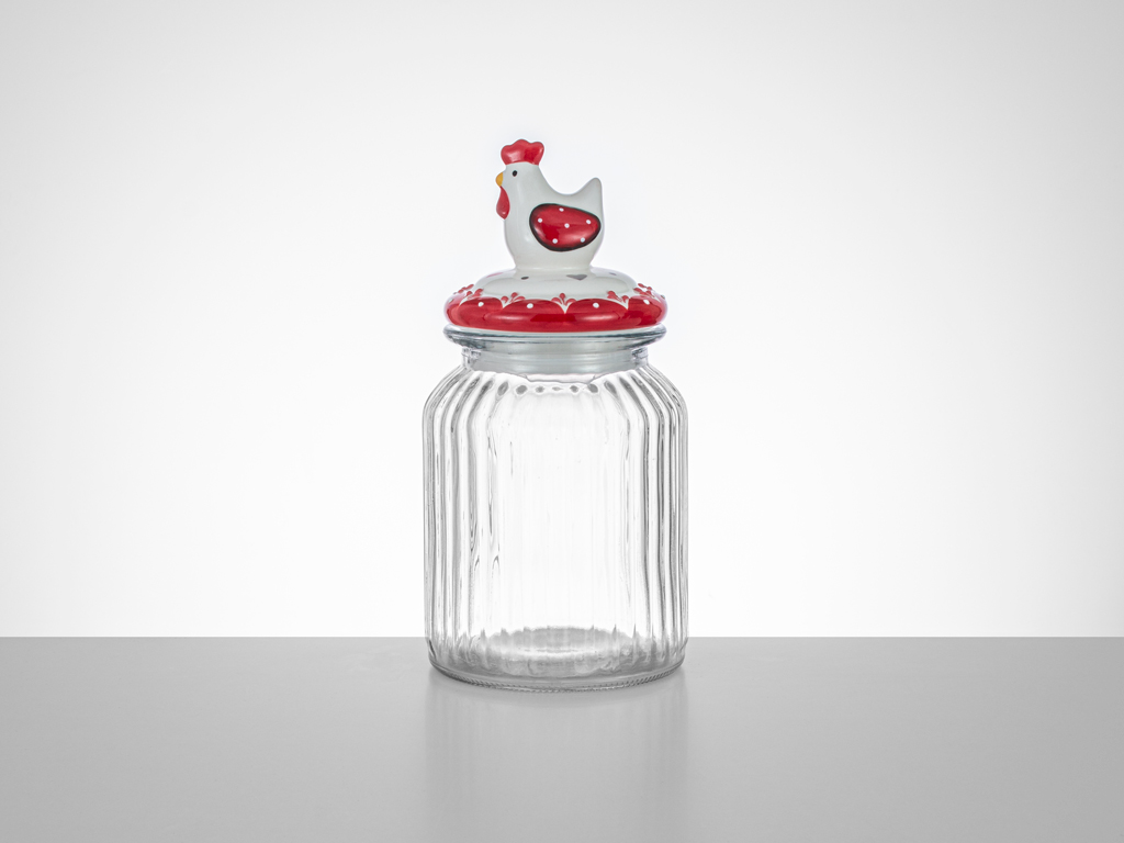 Chick Heart Glass Jar 11x11x21 Cm Red-White