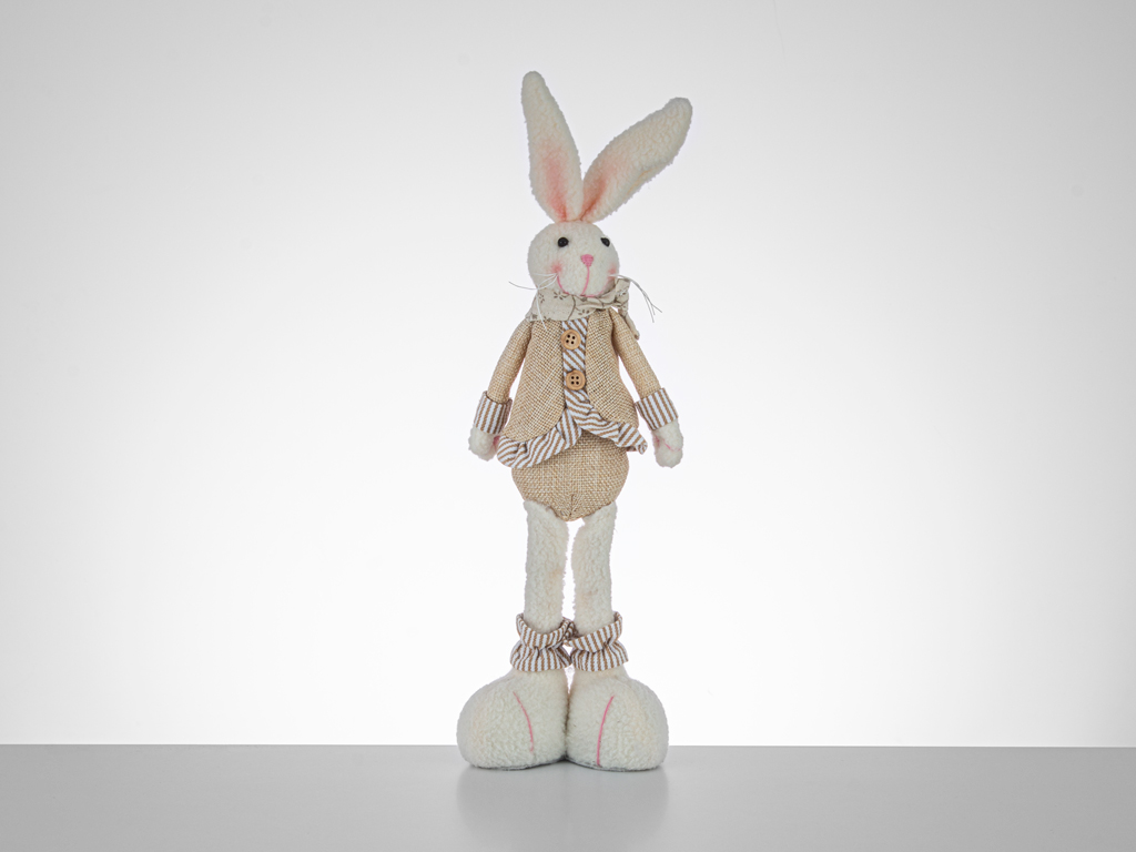 Happy Gift Rabbit Fabric-Wood Decorative Object 28 Cm Pink-Beige