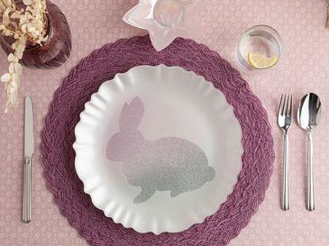Rabbit Glass Service Plate 28 Cm Pink