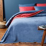Plain Cotton Blanket Double Size 200x220 Cm Red-Navy Blue