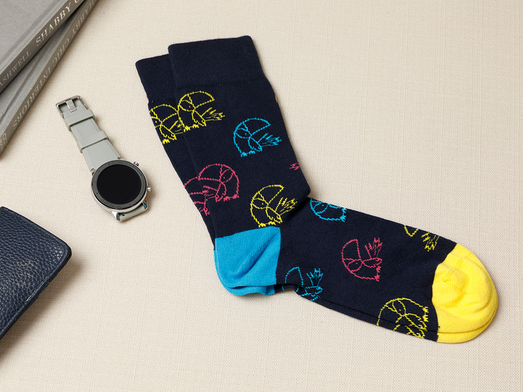 Birds Falling Cotton Socks Navy Blue