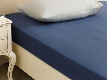 Plain Cotton Fitted Bed Sheet 200x200 Cm Night Blue