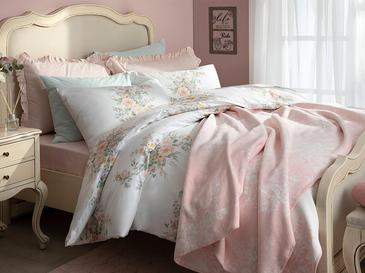 Cottage Garden Cotton Duvet Cover Set Single Size 160x220 Cm Powder