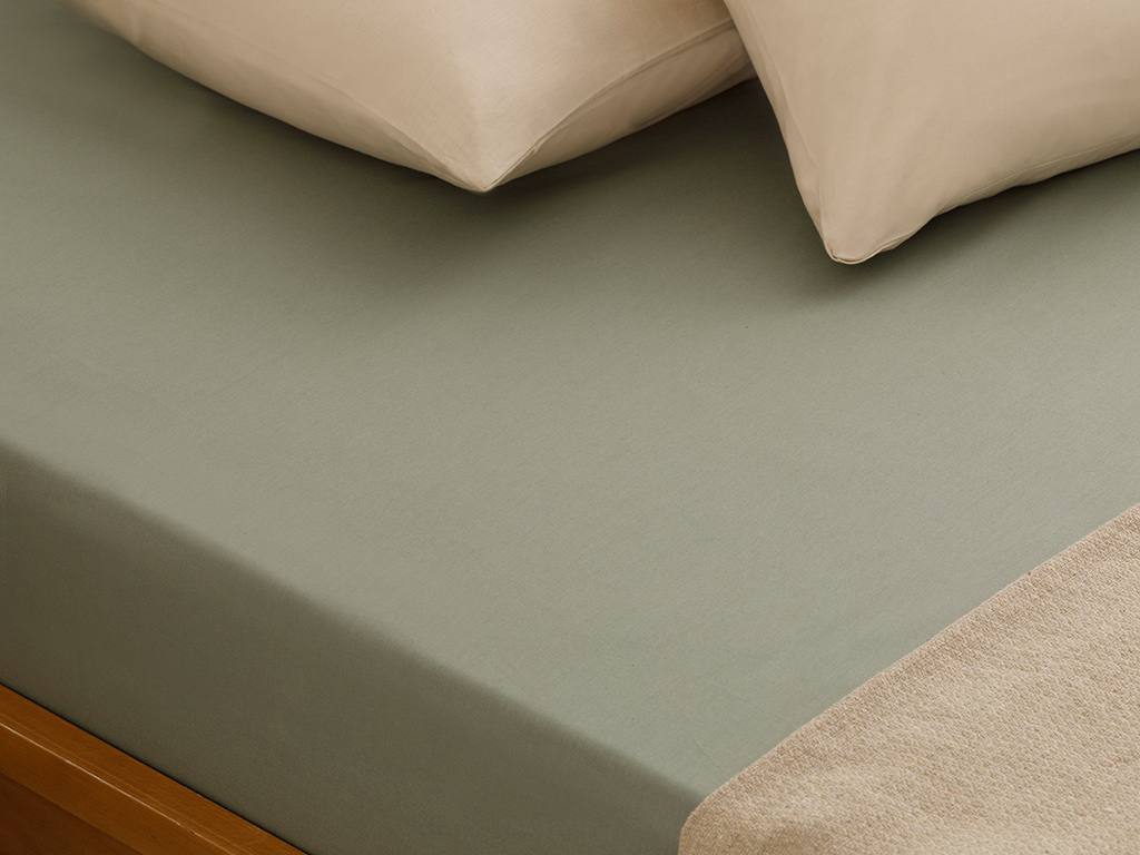 Plain Cotton Bed Sheet Double Size 240x260 Cm Sage Green