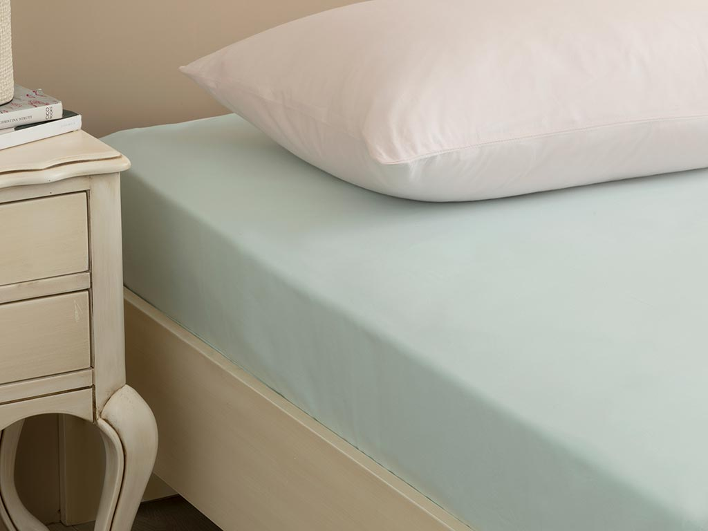 Plain Cotton Fitted Bed Sheet Double Size 160x200 Cm Light Seledon
