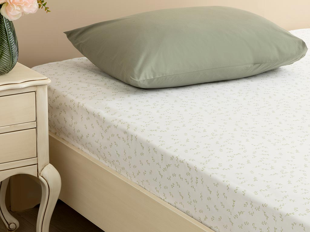 Leafy Cotton Fitted Bed Sheet Double Size 160x200 Cm Light Green