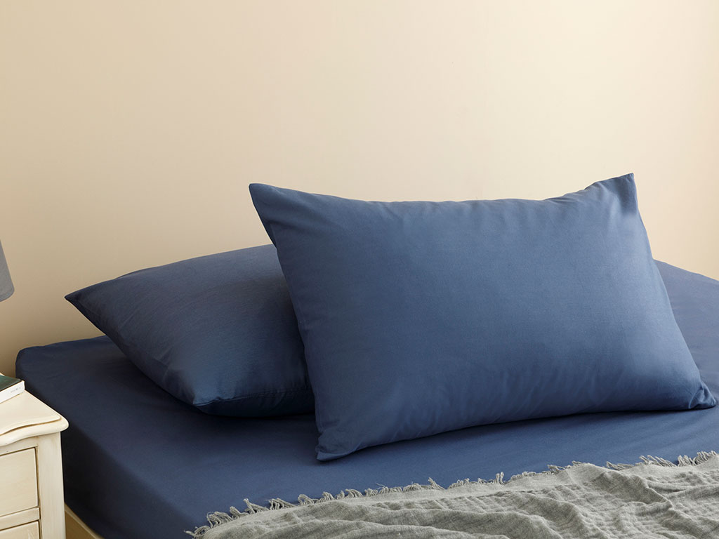 Plain Cotton Fitted Bed Sheet Set Single Size 100x200 Cm Night Blue
