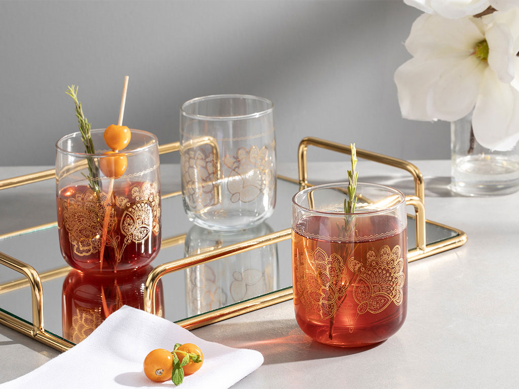 Luba Juice Glass 3 Piece 270 Ml Gold
