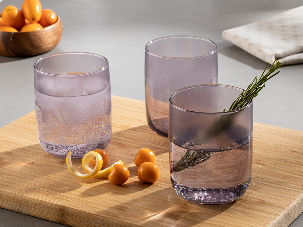 Bande Juice Glass 3 Piece 270 Ml Purple