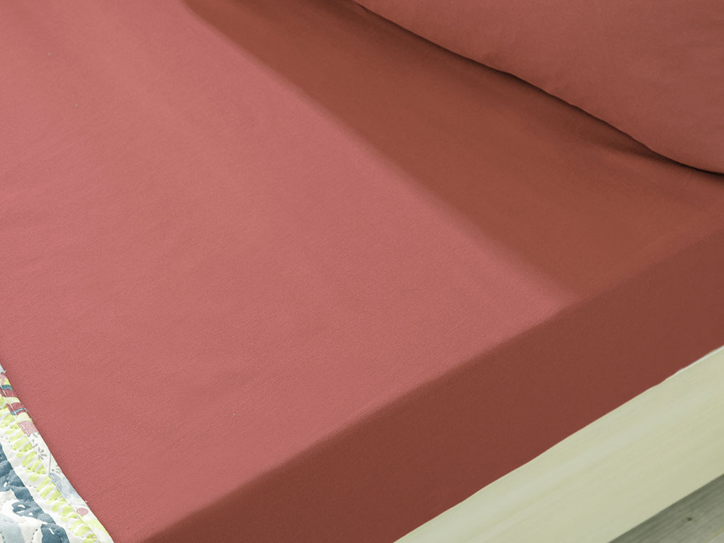 Plain Cotton Fitted Bed Sheet Set Single Size 100x200 Cm Dark Dusty Rose