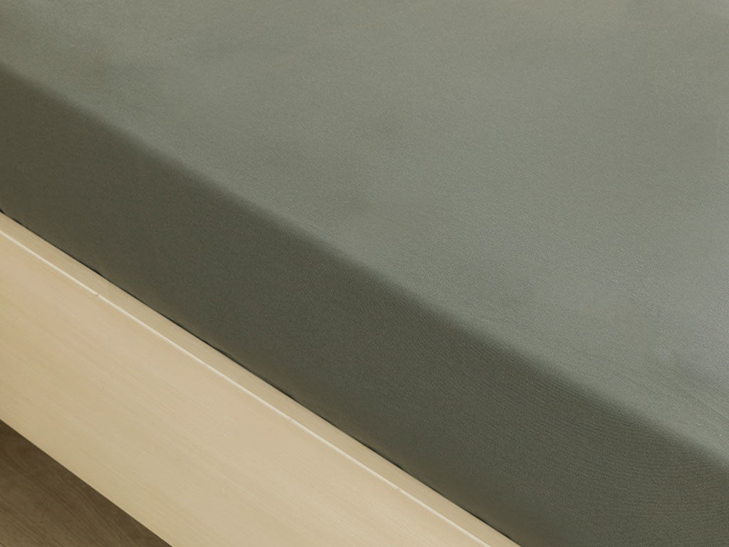 Plain Cotton Fitted Bed Sheet Set King Size 180x200 Cm Green