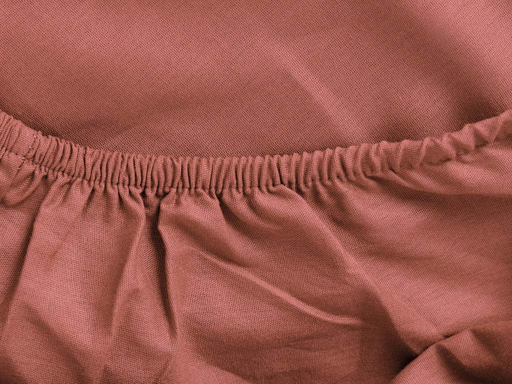 Plain Cotton Fitted Bed Sheet Set King Size 180x200 Cm Dark Dusty Rose