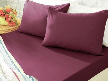 Plain Cotton Fitted Bed Sheet King Size 180x200 Cm Sour Cherry