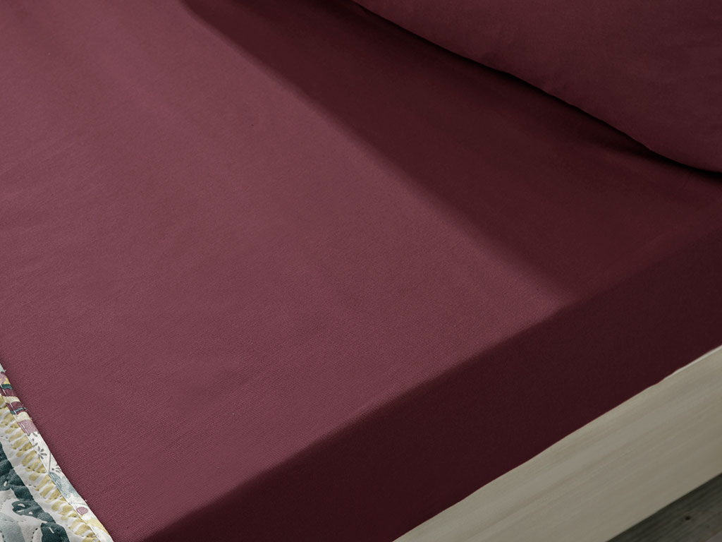 Plain Cotton Fitted Bed Sheet Single Size 100x200 Cm Sour Cherry
