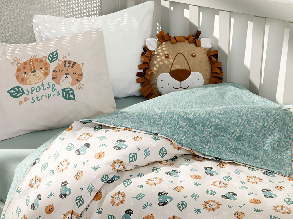 Baby Lion Cotton Baby Duvet Cover Full Set 100x150 Cm Green