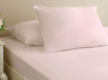 Plain Combed Cotton Fitted Bed Sheet Set Single Size 100x200 Cm Light Pink