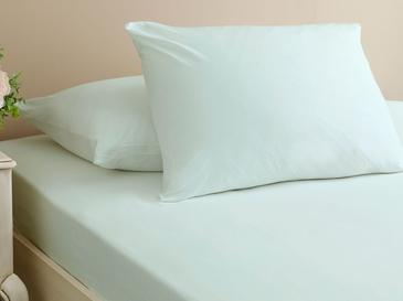 Plain Combed Cotton Fitted Bed Sheet Set Double Size 140x200 Cm Light Celadon