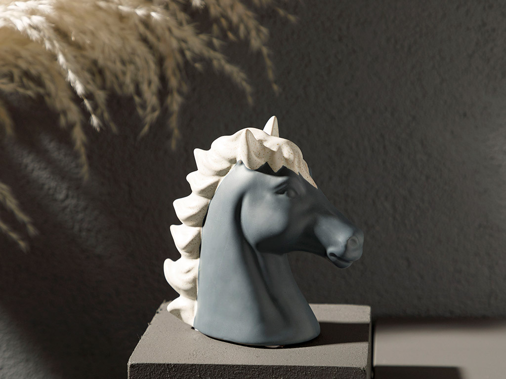 Carousel Horse Stoneware Decorative Object 14x6x14 Cm Anthracite