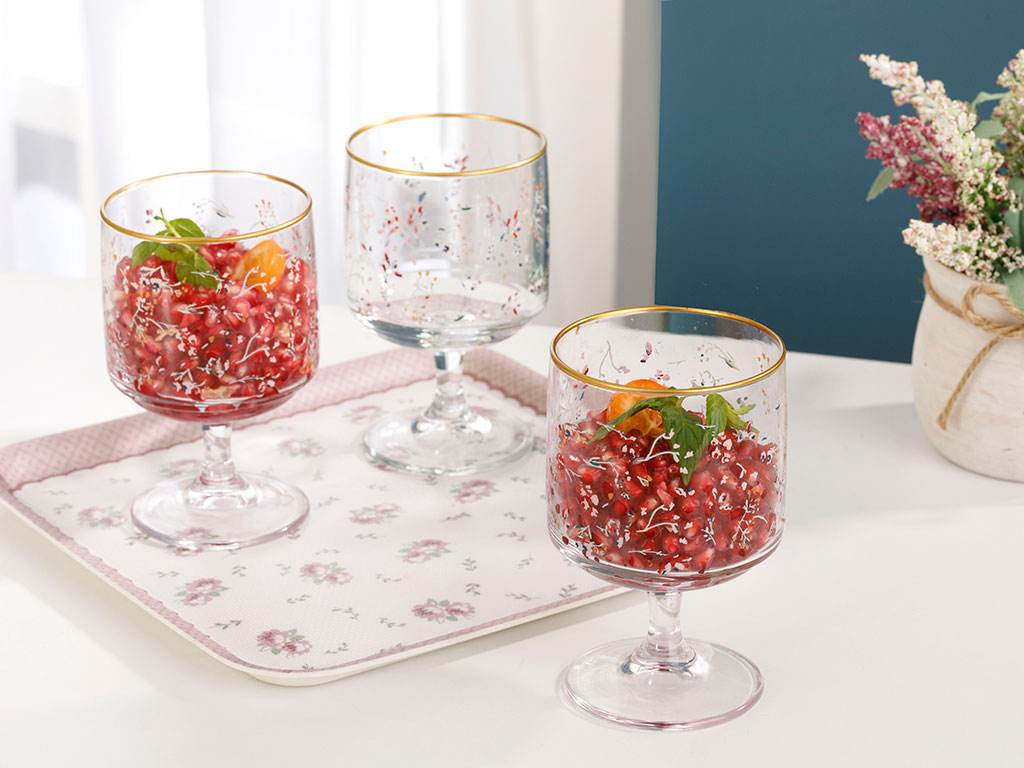 Flower Glass Cup 3 Piece 185 Ml Colorful