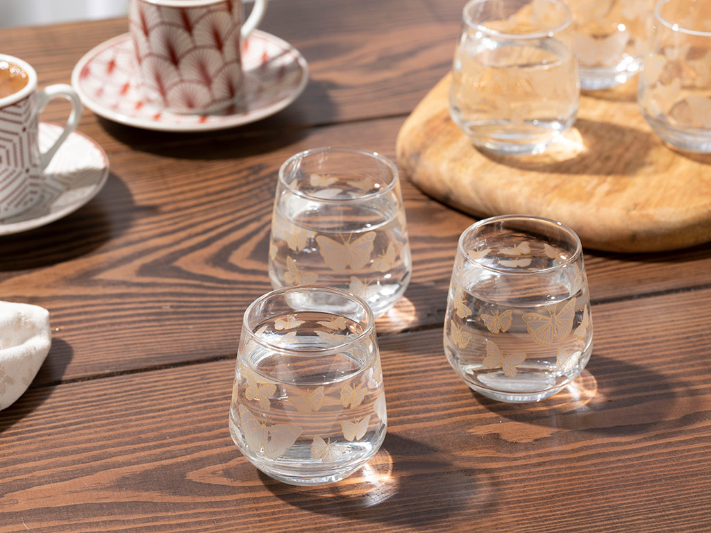 Butterfly Water Glass 6 Piece 115 Ml Transparent