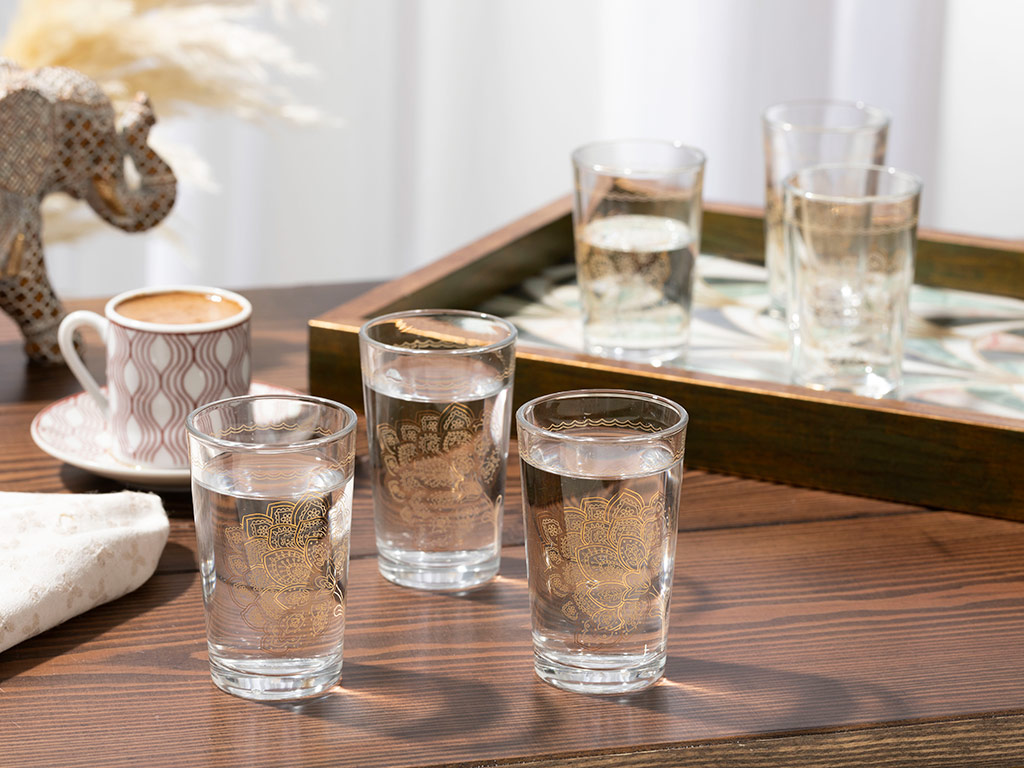 Luba Glass 6 Set Served With Coffee Water Glass 100 Ml Gold