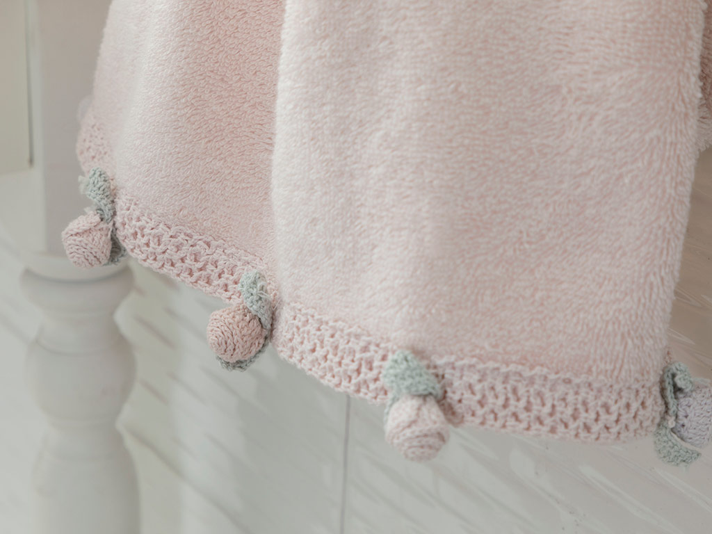 Mini Rose Crocheted Face Towel 50x80 Cm Powder Pink