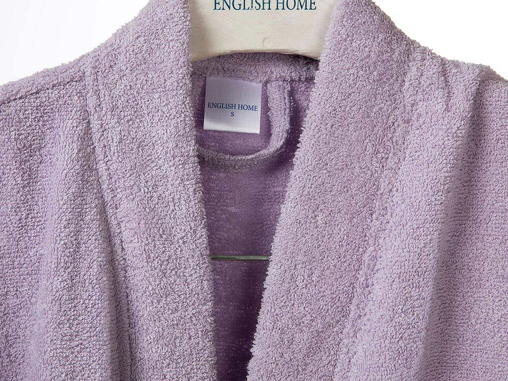 Plain Cotton Women's Bathrobe L-XL Light Lilac