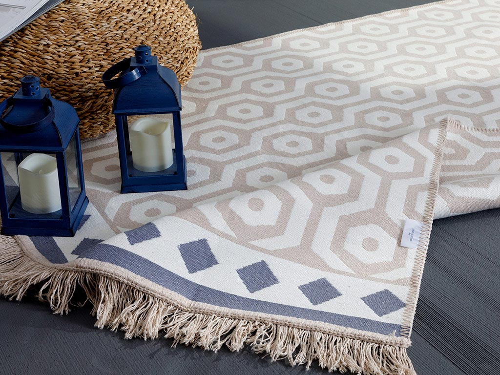 Geopatch Weaved Double Sided Rug 80x150 Cm