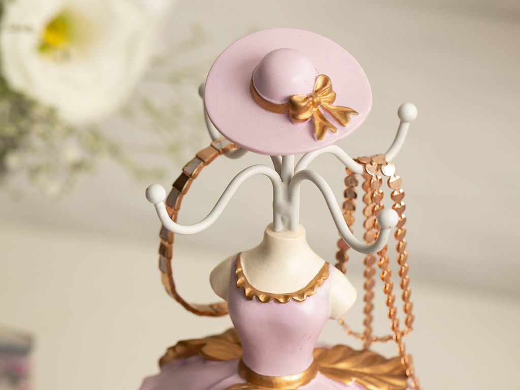 Ball Gown Jewelry Holder 10,5x8x37,5 Cm Pink