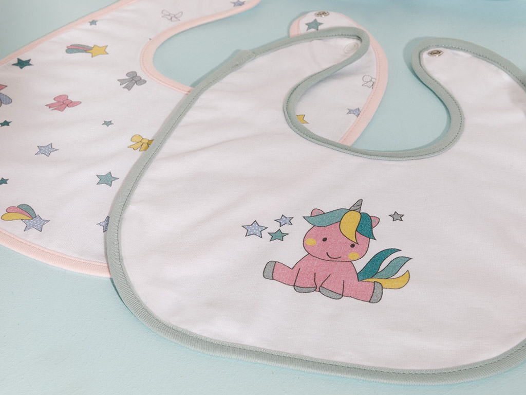 Mini Unicorn Baby Bib 2 Piece Pink