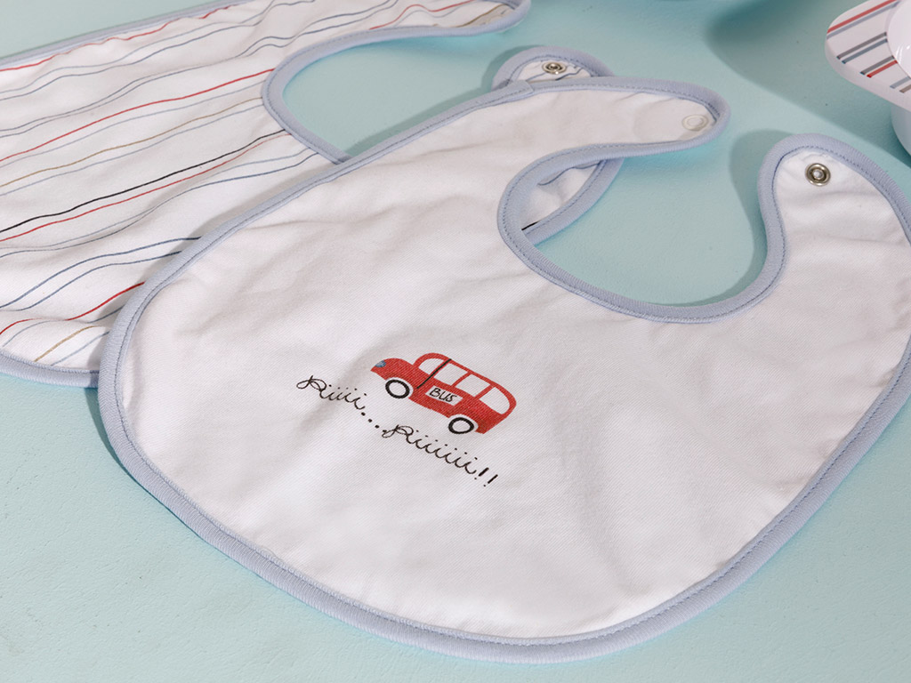 Mini Cars Baby Bib 2 Piece Blue