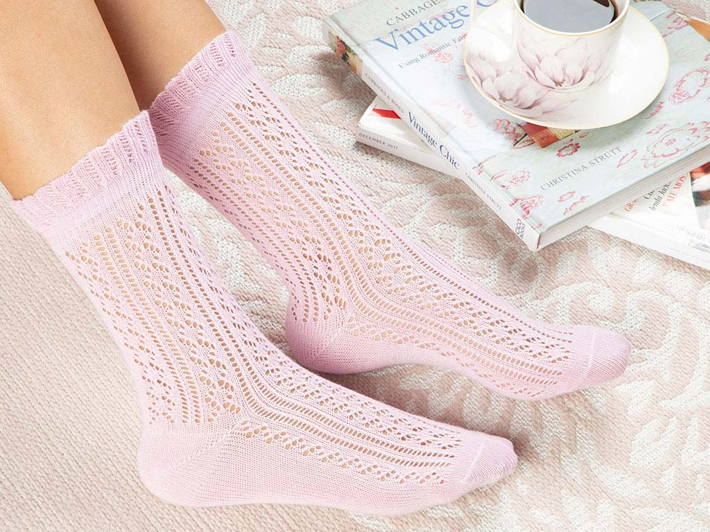 Fishnet Long Cotton Women's Socks Powder Pink