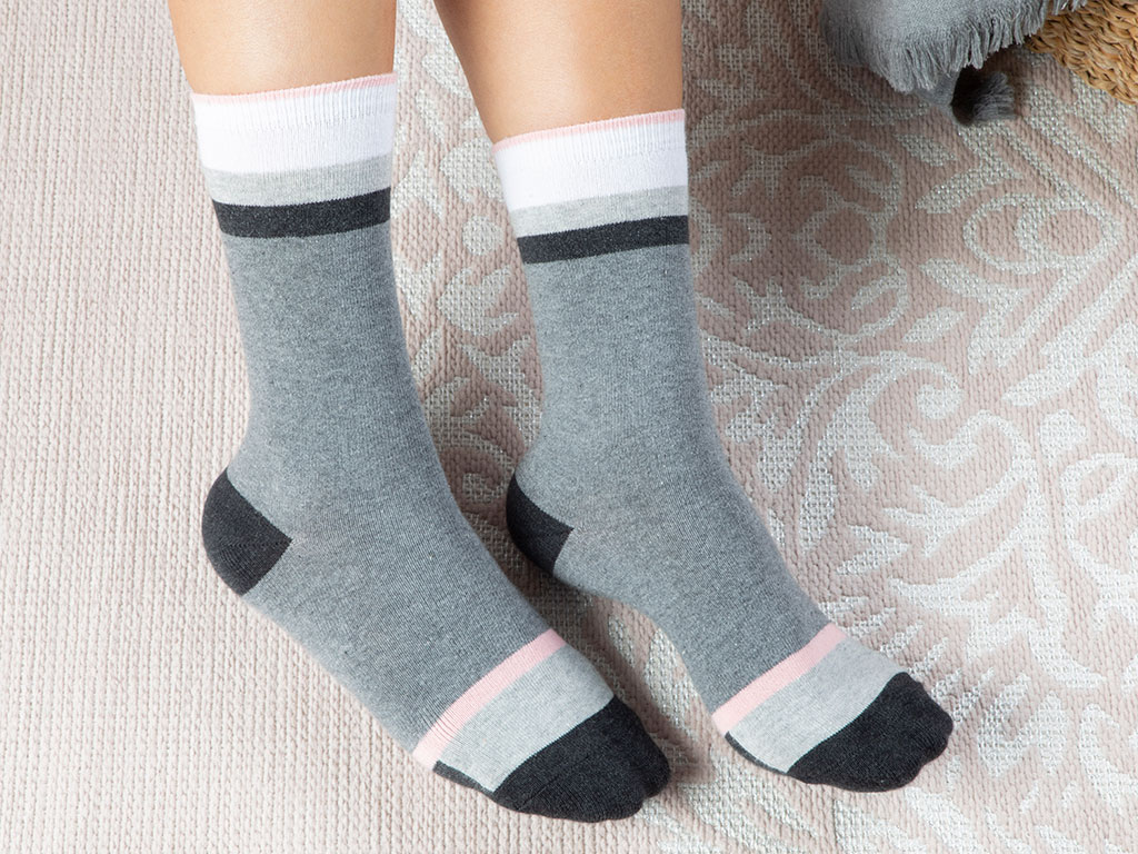 Linear Cotton Socks Mix Gray
