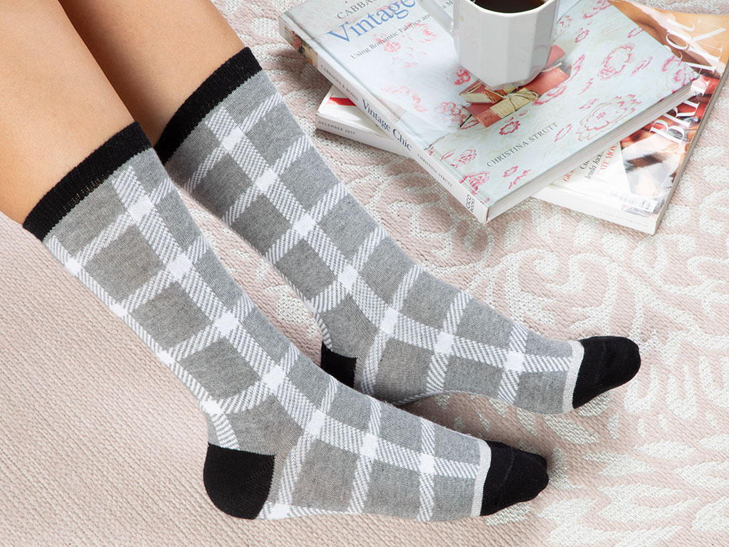 Squared Cotton Socks Mix Gray